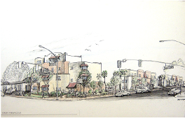 Sketch of apartment complex